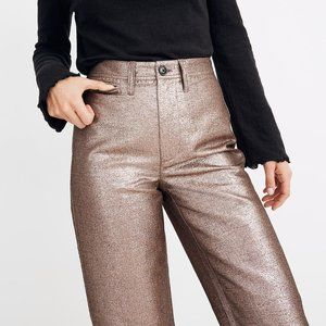 Madewell Slim Emmett Wide-Leg Crop Pants Metallic
